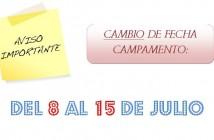 cartel cambio fecha campamento
